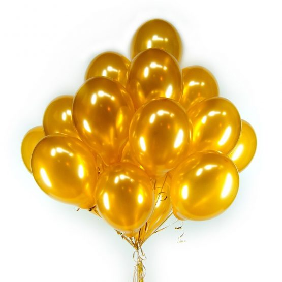 Золотые гелиевые шары из латекса